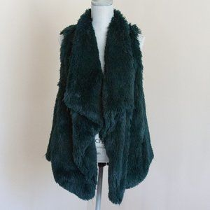 Jolt Forest Green Tiered Faux Fur Vest